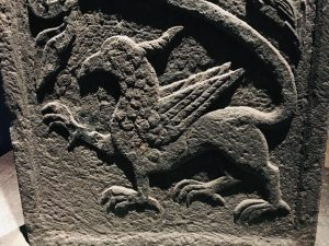 Griffin carving