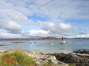 View over the Sound of Iona with boats
